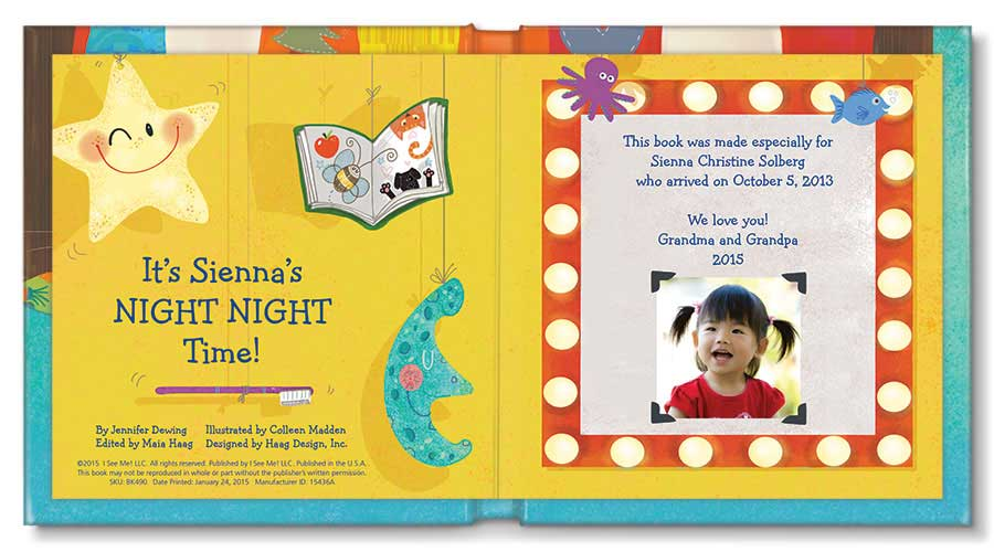 Inside Pages of 'My Night Night Time' from I See Me! Personalized Children's Books