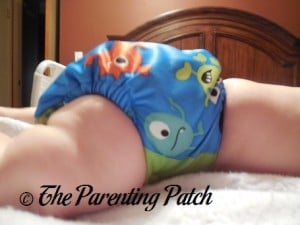 Side of ecoAble Pocket Diaper with Bamboo Insert on 17 Pound Infant 2