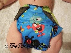 Front of ecoAble Pocket Diaper with Overnight Inserts on 17 Pound Infant