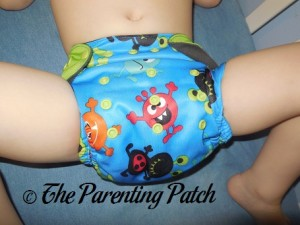 Front of ecoAble Pocket Diaper with Bamboo Insert on 30 Pound Preschooler 1