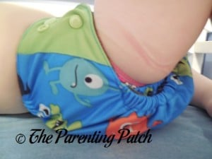 Side of ecoAble Pocket Diaper with Bamboo Insert on 30 Pound Preschooler 1