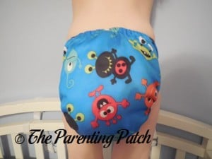 Back of ecoAble Pocket Diaper with Bamboo Insert on 30 Pound Preschooler 2