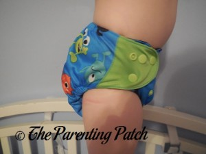 Side of ecoAble Pocket Diaper with Bamboo Insert on 30 Pound Preschooler 2