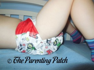 Side of ecoAble Bamboo All-in-One Cloth Diaper with Pocket on 30 Pound Preschooler 1