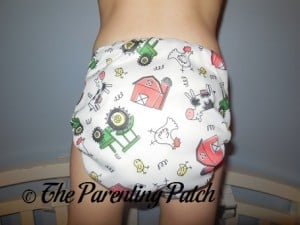 Back of ecoAble Bamboo All-in-One Cloth Diaper with Pocket on 30 Pound Preschooler 2