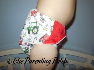 Side of ecoAble Bamboo All-in-One Cloth Diaper with Pocket on 30 Pound Preschooler 2