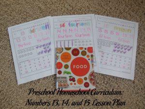 Numbers 13, 14, and 15 Preschool Activities