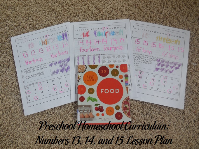 Numbers 13, 14, and 15 Preschool Activities