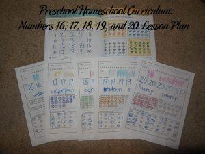 Numbers 16, 17, 18, 19, and 20 Preschool Activities