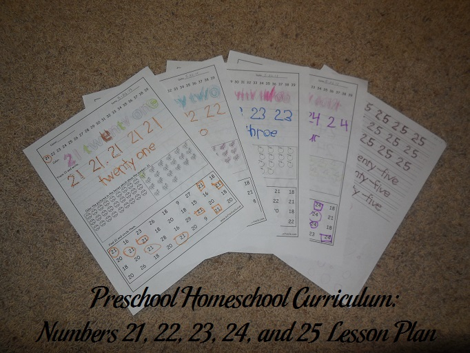Numbers 21, 22, 23, 24, and 25 Preschool Activities