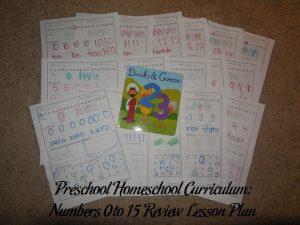 Numbers 0 to 15 Review Preschool Activities