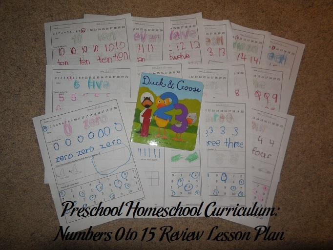 Numbers 0 to 15 Review Preschool Activities