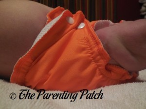 Side of Size 1 AppleCheeks Envelope Diaper Cover at Ten Pounds 1