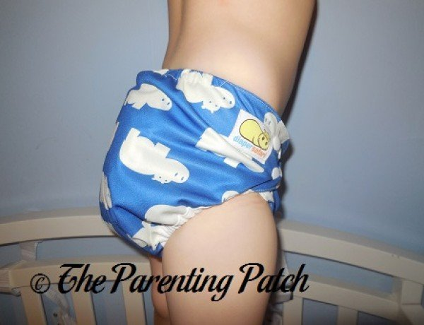 Side of  Diaper Safari One-Size Diaper Cover at Thirty Pounds 2