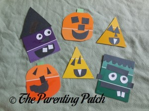 Pumpkin, Candy Corn, Witch, and Monster Paint Chip Crafts