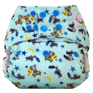 Bandit Raccoon Sweet Pea Diapers Bamboo All-in-One