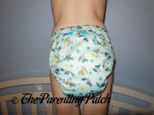 Back of Sweet Pea Diapers Bamboo All-in-One on 30 Pound Preschooler 2