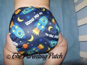 Back of EcoAble Charcoal Bamboo All-in-Two on 18 Pound Infant