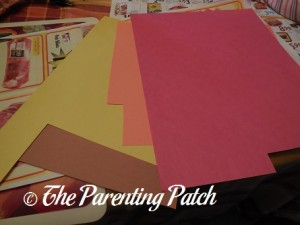 Brown, Yellow, Orange, and Red Construction Paper