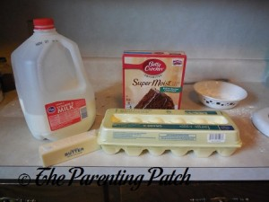 Ingredients for Chocolate Cake Crinkles