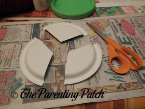 Cutting the Green Paper Plate in Thirds