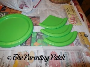 Gluing the Paper Plate Thirds Together
