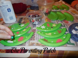 Decorating the Paper Plate Christmas Trees