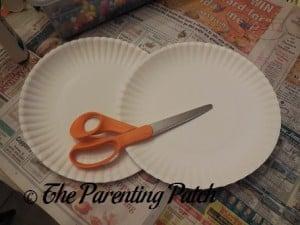 White Paper Plates and Scissors