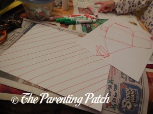 Decorating White Paper with Red and Green Designs