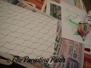 Decorating White Paper with Green and Red Designs