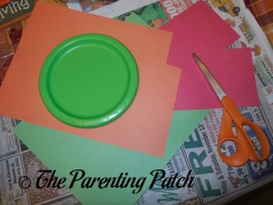 Materials for Holly and Candle Paper Plate Christmas Wreath