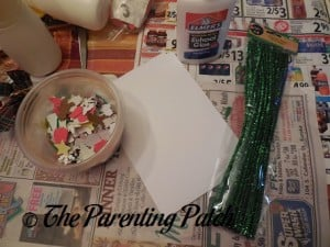 Supplies for Pipe Cleaner Christmas Cards
