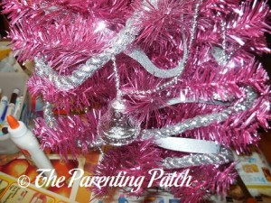 Decorating the Pink Christmas Tree with Silver Decorations 3