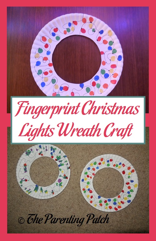 Fingerprint Christmas Lights Wreath Craft
