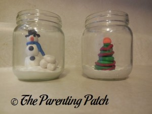 Clay Christmas Scenes in Glass Jars