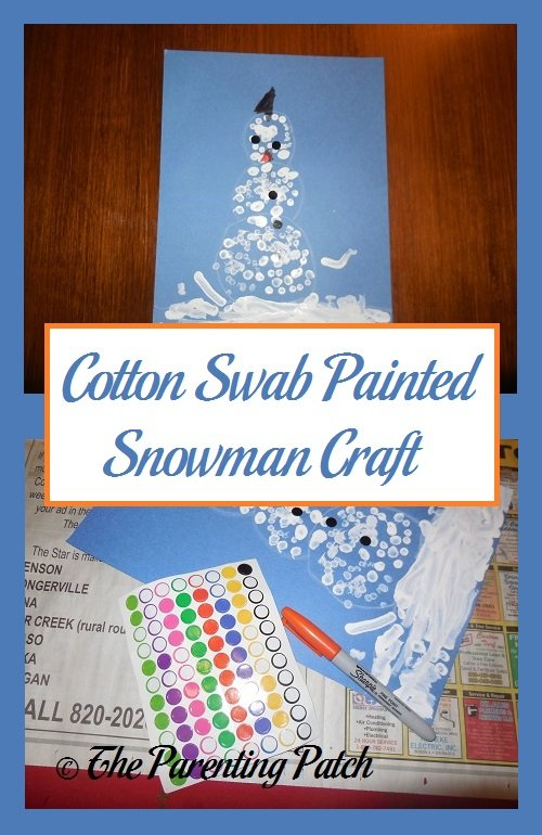 Cotton Swab Painted Snowman Craft