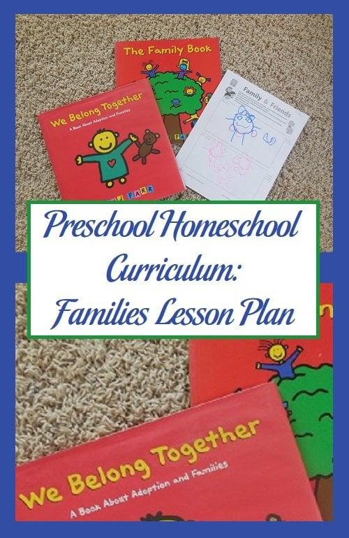 Preschool Homeschool Curriculum: Families Lesson Plan