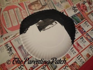 Paper Plate Folds Painted Black for Paper Plate Penguin Craft