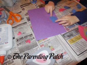 Arranging Hearts for Valentine's Day Heart Butterfly Craft