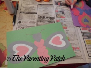 Putting Together the Valentine's Day Heart Butterfly Craft