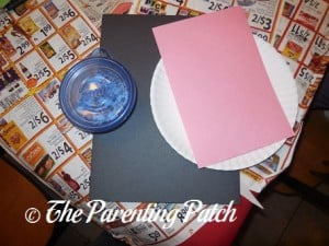 Materials for Valentine's Day Paper Plate Cow Craft