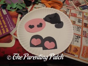 Cutting Pieces for Valentine's Day Paper Plate Cow Craft