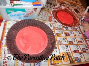 Coloring the Outside Edge of the Paper Plate Brown