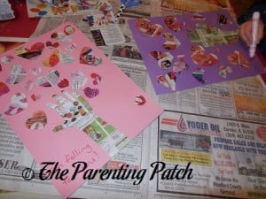 Assembling the Valentine's Day 'I'm Falling for You' Handprint Tree Craft