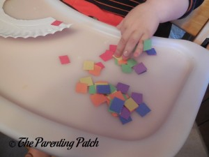 Small Colored Paper Squares for the Pot of Gold Rainbow Paper Plate Craft