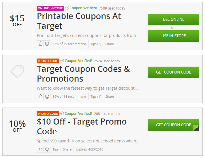 Target coupons money off