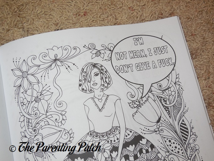 Uncolored Page Of Bitches With Attitude Swear Word Coloring Book Volume 1