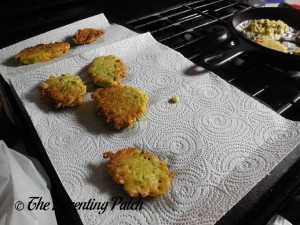 Soaking Up Excess Oil from the Zucchini Fritters