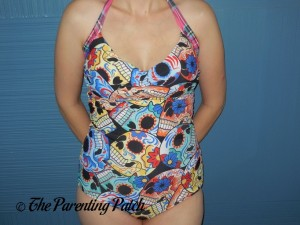 Wearing the Roybens Retro Floral Skull One-Piece Halter Swimsuit