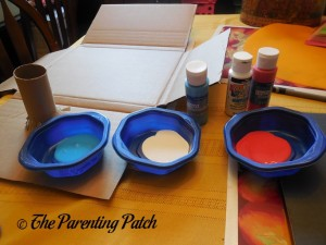 Blue, White, and Red Acrylic Paint